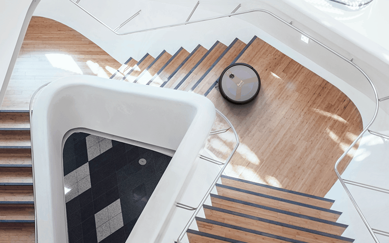 robot vacuum on stairs